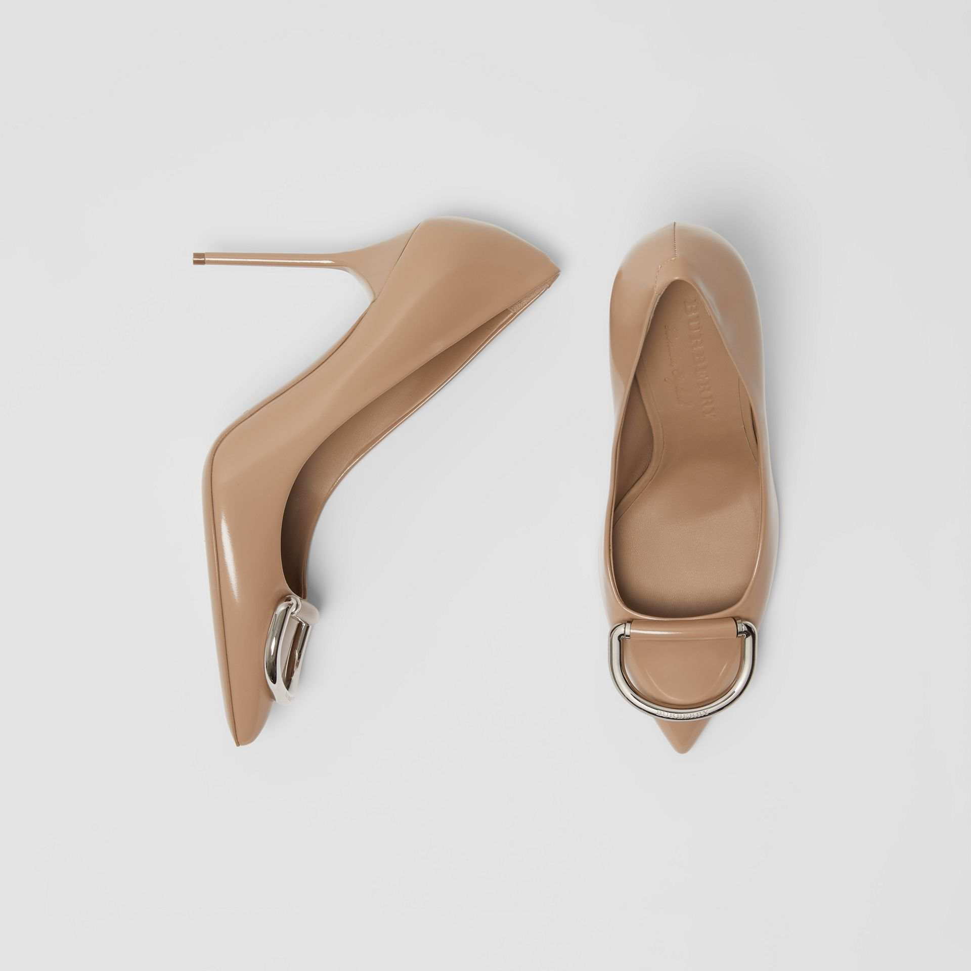 The Leather D-ring Stiletto in Nude Blush - Women | Burberry - gallery image 0