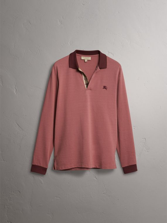 Long-sleeve Cotton Piqué Polo Shirt in Rosewood - Men | Burberry United Kingdom - cell image 3