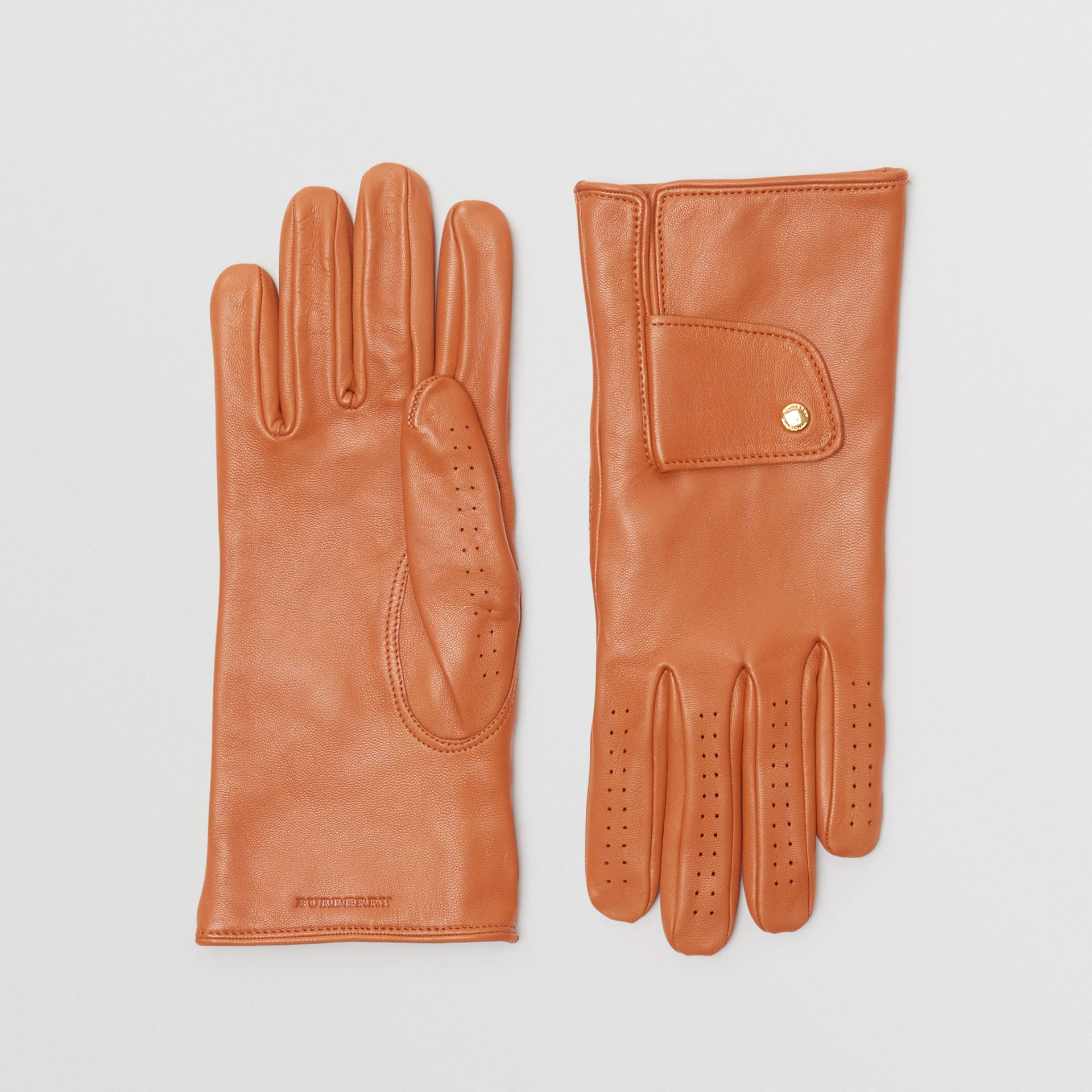Cashmere-lined Lambskin Gloves in Tan | Burberry Singapore - gallery image 0
