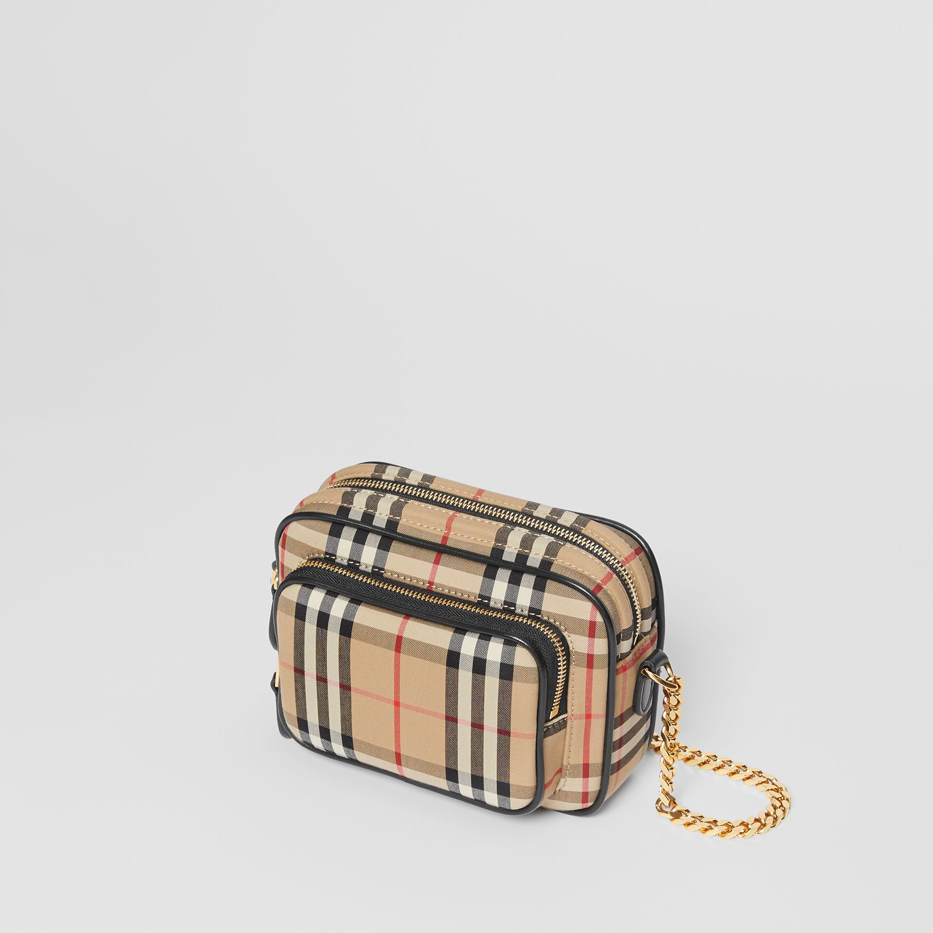 Vintage Check and Leather Camera Bag in Archive Beige | Burberry United States - gallery image 4