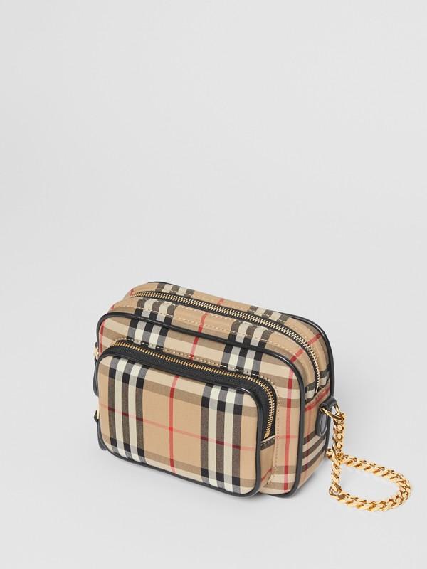 Bolsa de fotógrafo em couro e Vintage Check (Bege Clássico) | Burberry - cell image 3