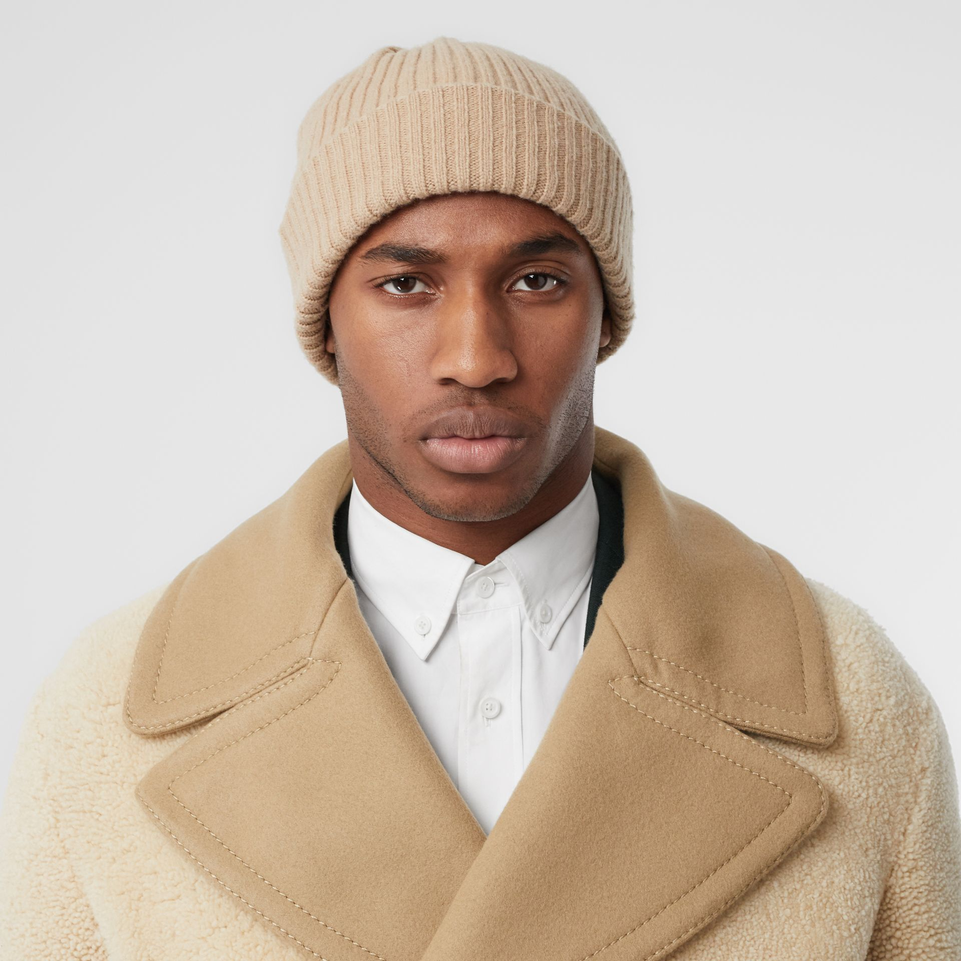 Contrast Wool Collar Shearling Pea Coat in Sesame - Men | Burberry - gallery image 1