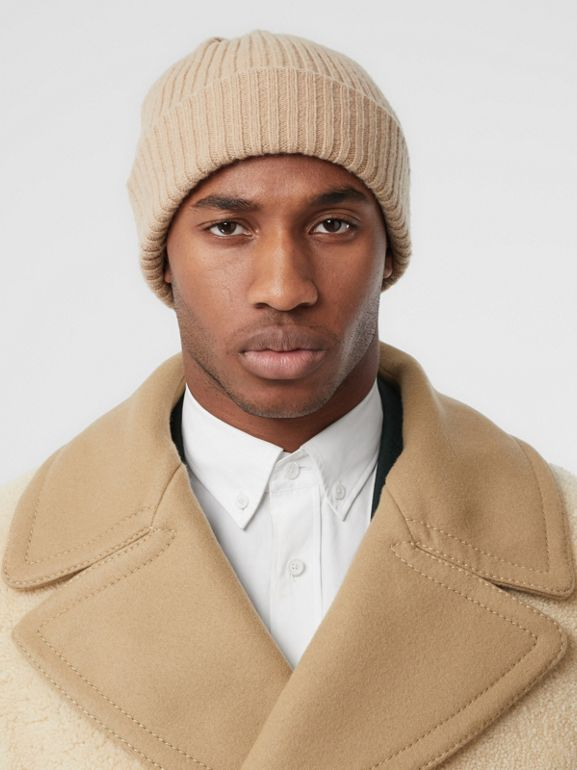 Contrast Wool Collar Shearling Pea Coat in Sesame - Men | Burberry - cell image 1
