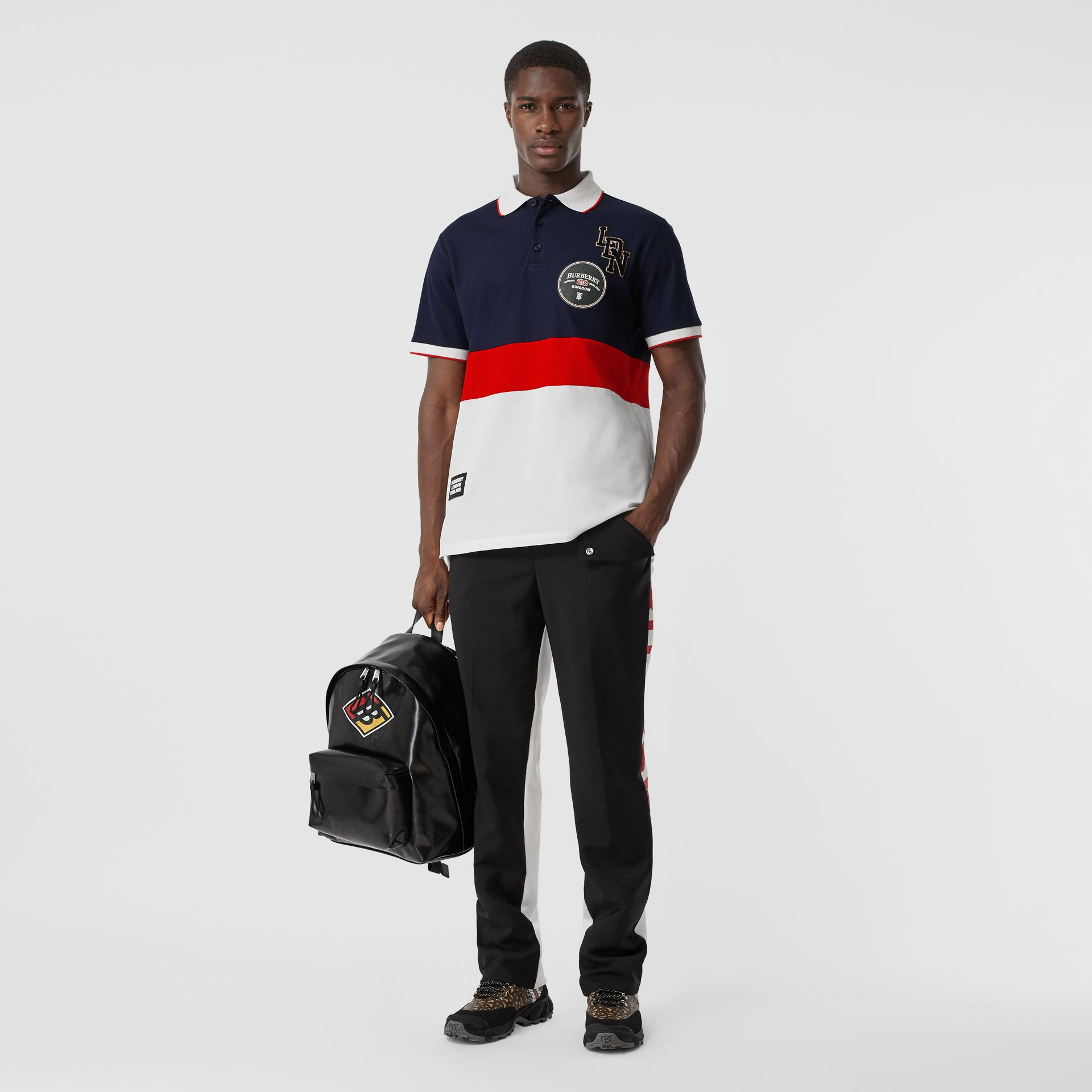 Logo Graphic Cotton Piqué Polo Shirt in Navy - Men | Burberry - gallery image 0