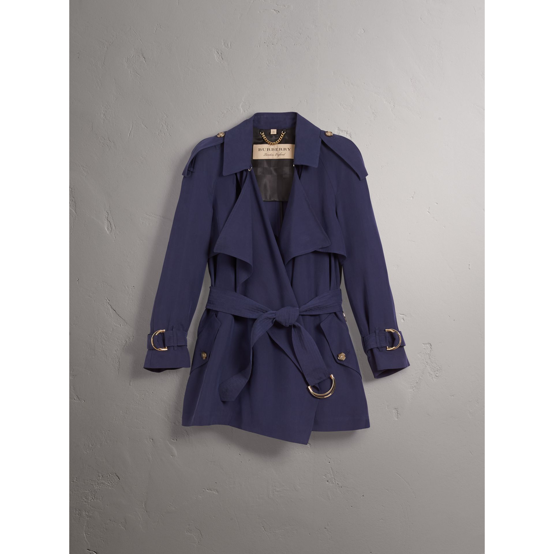 Silk Wrap Trench Coat in Navy - gallery image 4