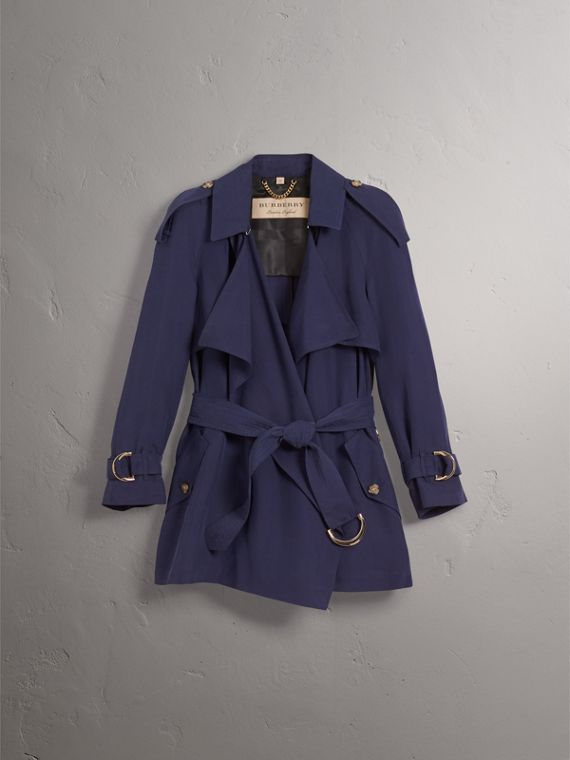 Silk Wrap Trench Coat in Navy - cell image 3