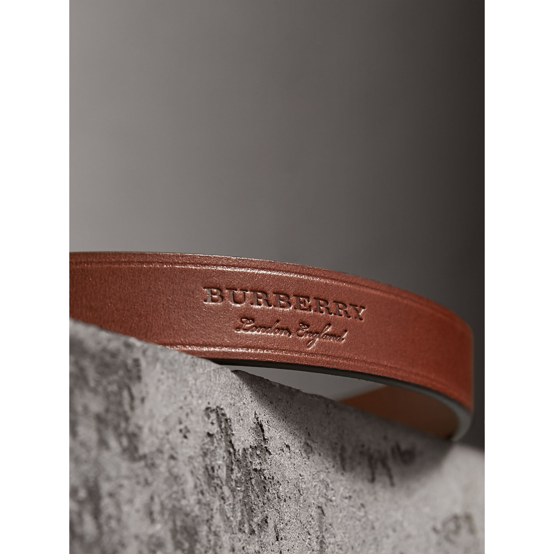 Brass Plaque Buckle Embossed Bridle Leather Belt in Tan - Women | Burberry - gallery image 1