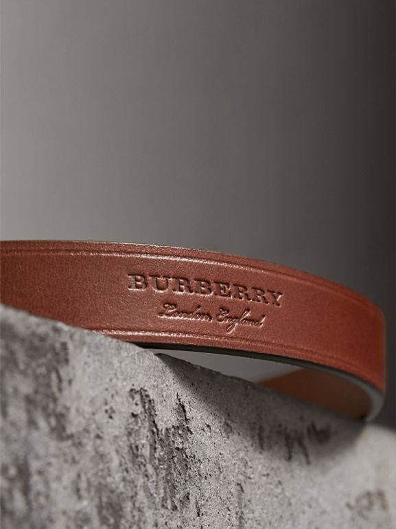 Brass Plaque Buckle Embossed Bridle Leather Belt in Tan - Women | Burberry - cell image 1