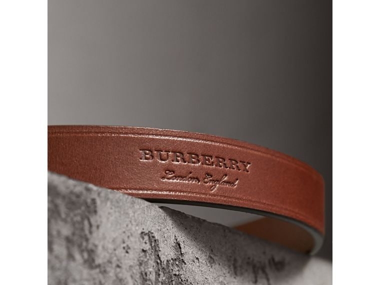 Brass Plaque Buckle Embossed Bridle Leather Belt in Tan - Women | Burberry Singapore - cell image 1