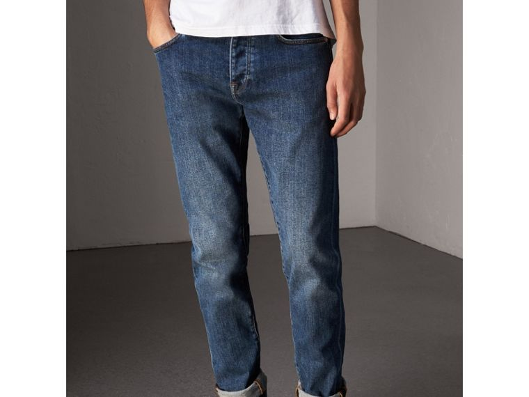 Relaxed Fit Japanese Stretch Denim Jeans in Mid Indigo - Men | Burberry - cell image 4