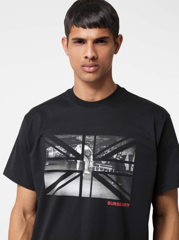 Union Jack Photo Print Cotton Oversized T-shirt in Black - Men | Burberry - cell image 1