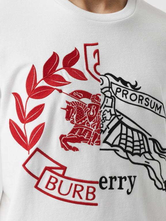 Contrast Crest Cotton T-shirt in White - Men | Burberry - cell image 1