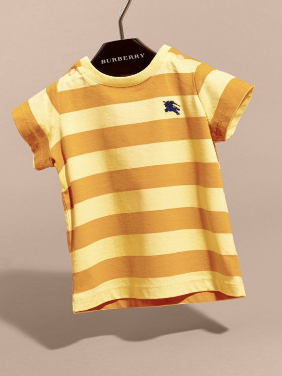 Striped Cotton T-shirt in Pale Yellow/ochre Yellow | Burberry - cell image 2