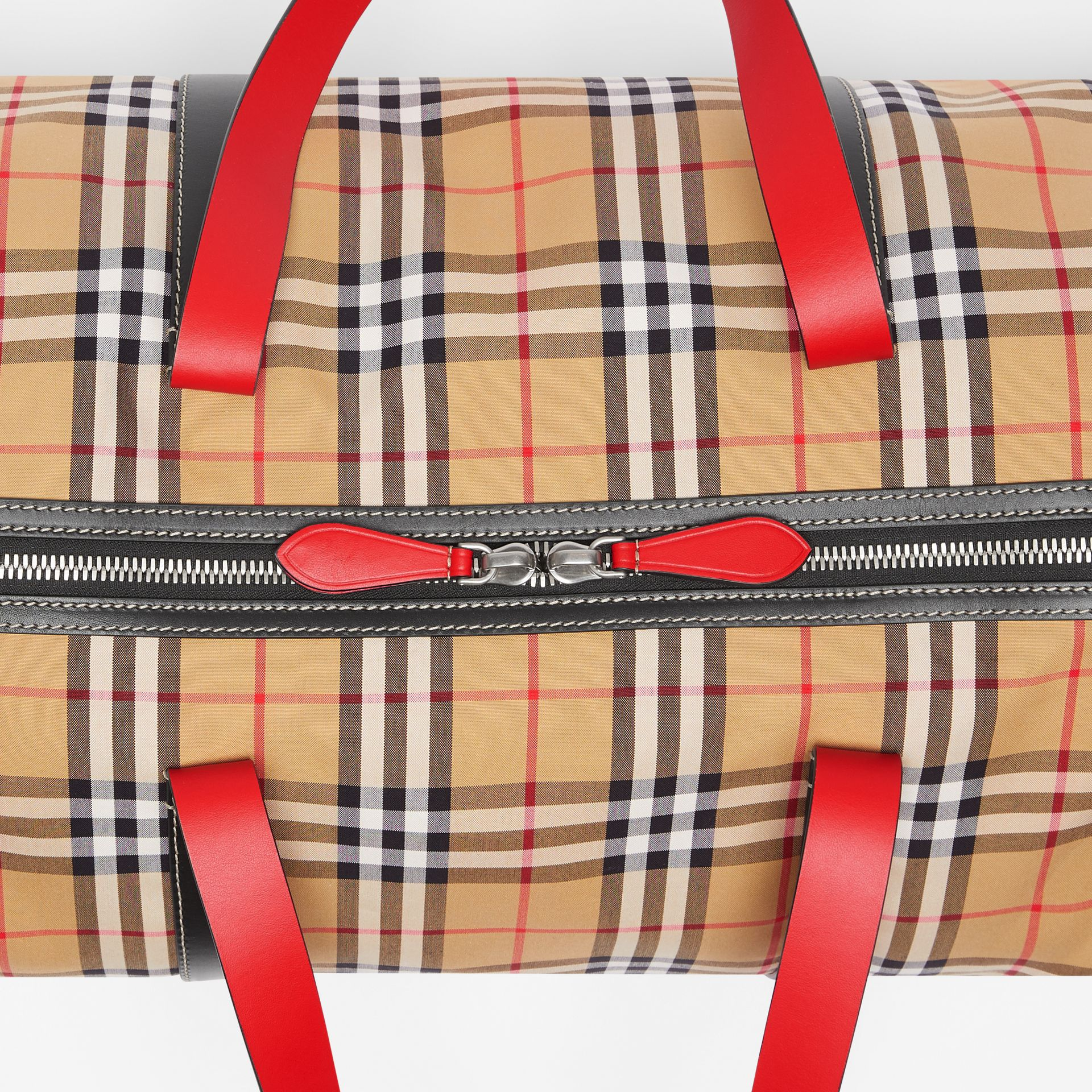 Large Vintage Check and Leather Barrel Bag in Military Red - Men | Burberry - gallery image 1