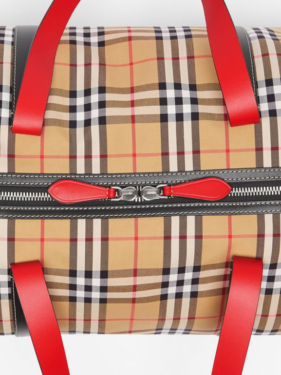 Large Vintage Check and Leather Barrel Bag in Military Red - Men | Burberry Canada - cell image 1