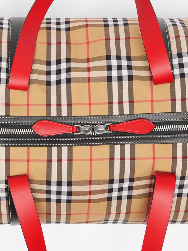 Large Vintage Check and Leather Barrel Bag in Military Red - Men | Burberry Canada - cell image 2