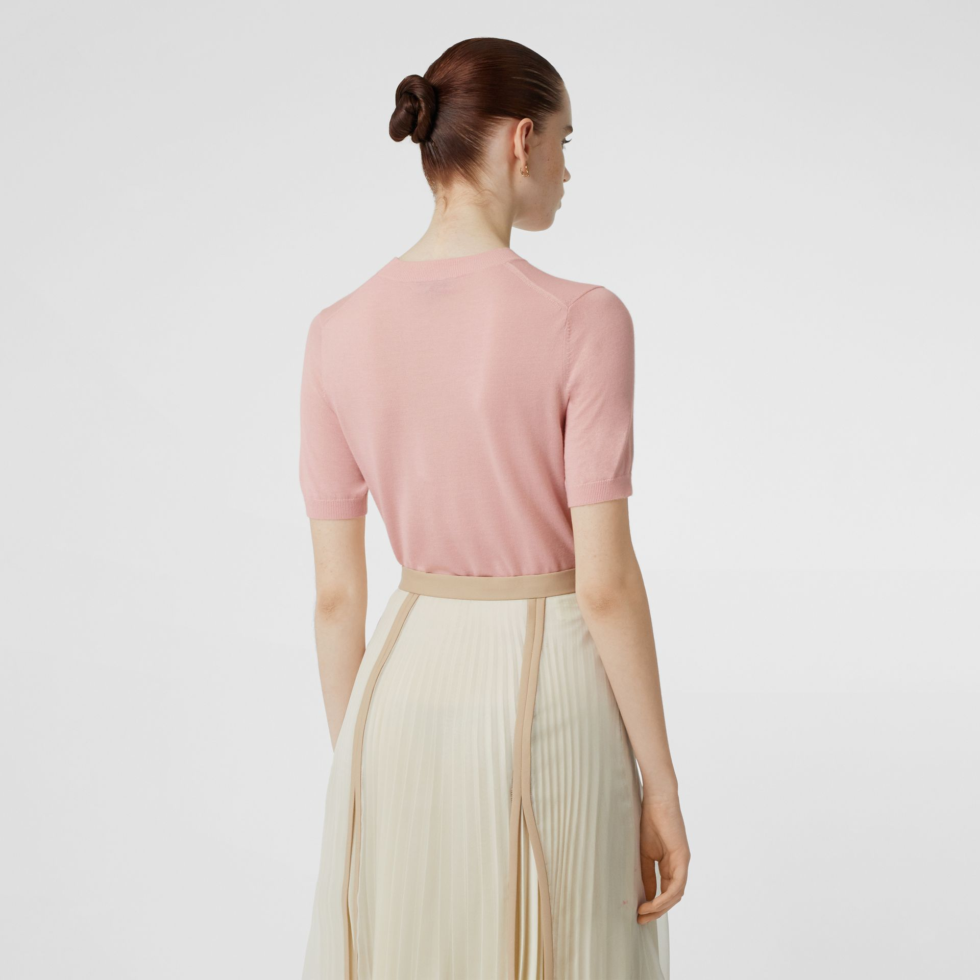 Monogram Motif Cashmere Top in Pink - Women | Burberry - gallery image 2