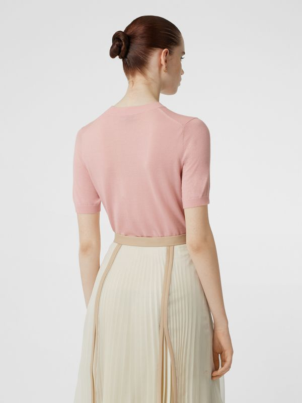 Monogram Motif Cashmere Top in Pink - Women | Burberry - cell image 2
