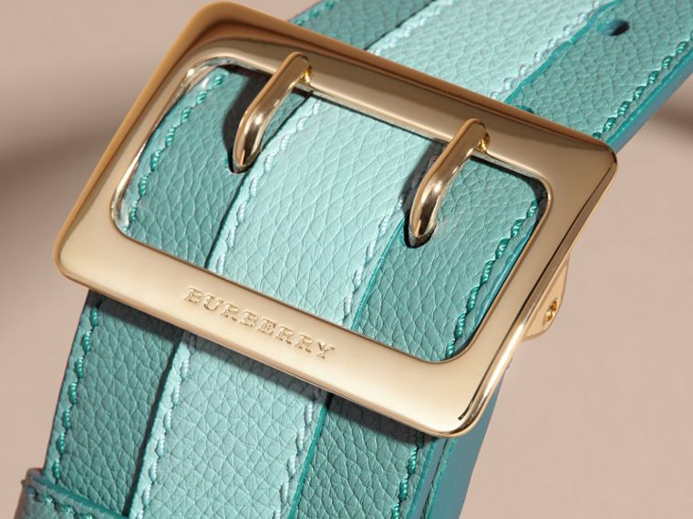 Celadon blue Appliquéd Textured Suede and Leather Belt Celadon Blue - cell image 1