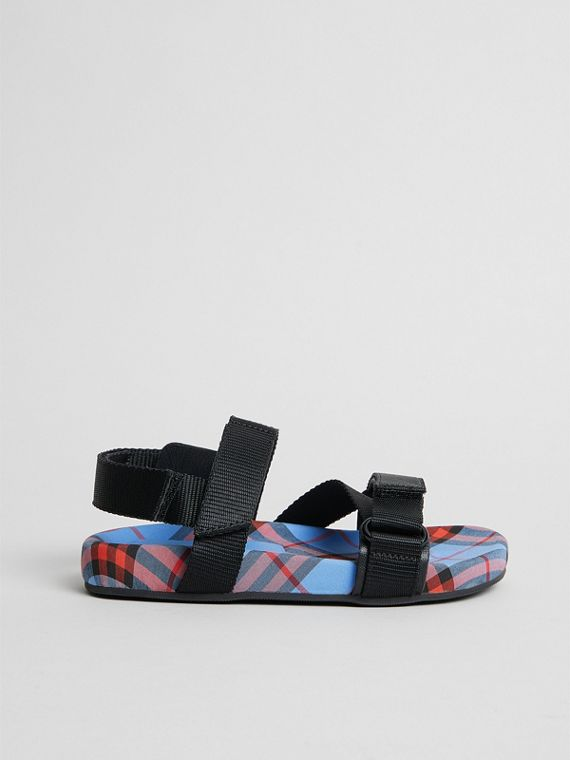 Ripstop Strap Check Cotton Sandals in Cornflower Blue | Burberry Hong Kong - cell image 3