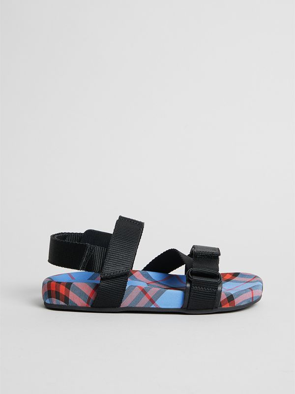Ripstop Strap Check Cotton Sandals in Cornflower Blue | Burberry - cell image 3