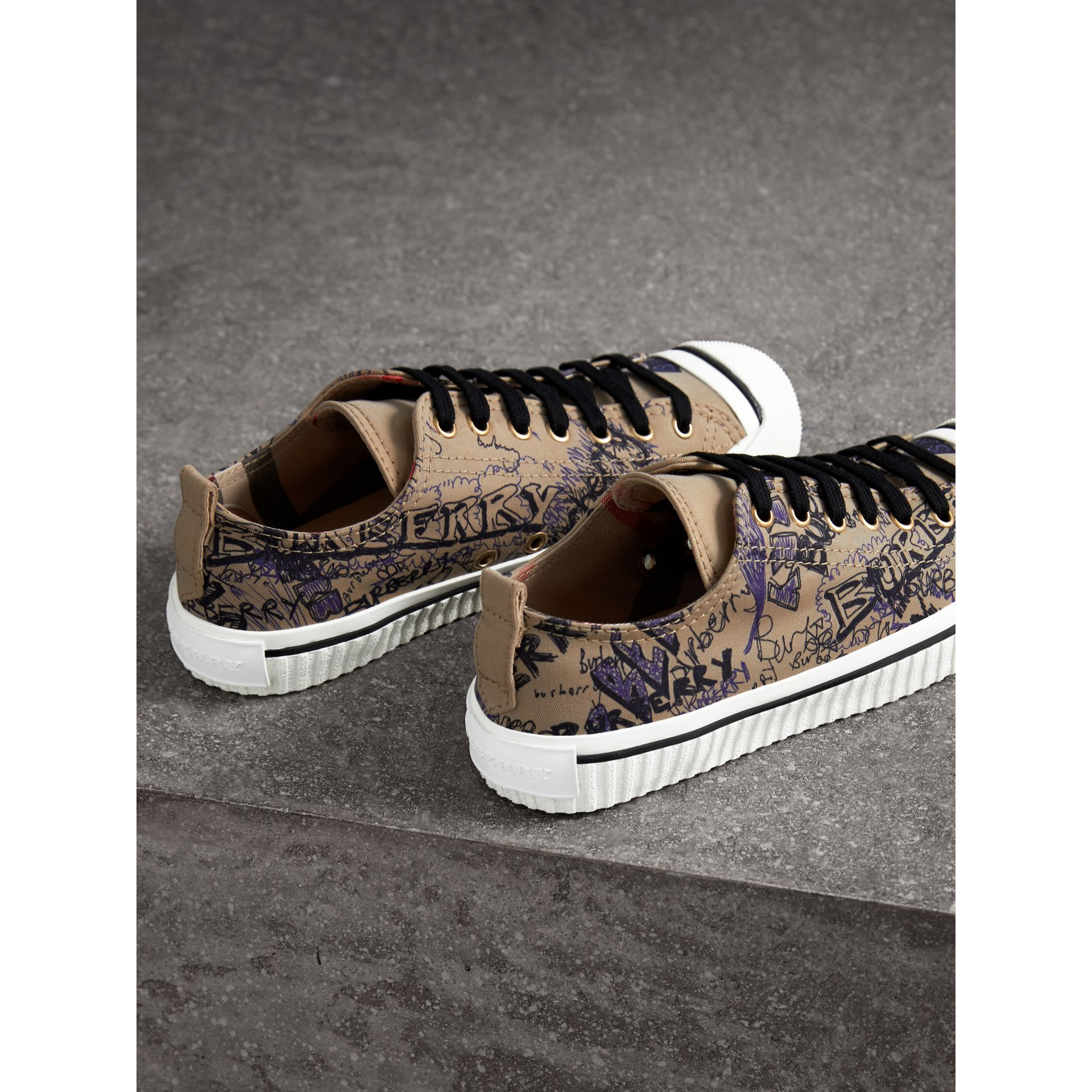 Doodle Print Cotton Gabardine Trainers in Honey - Women | Burberry - gallery image 4