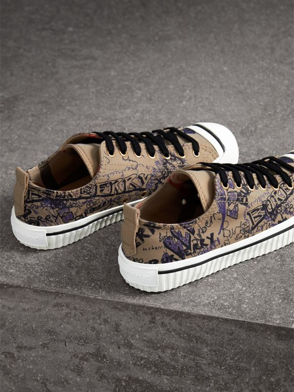 Doodle Print Cotton Gabardine Sneakers in Honey - Women | Burberry - cell image 3