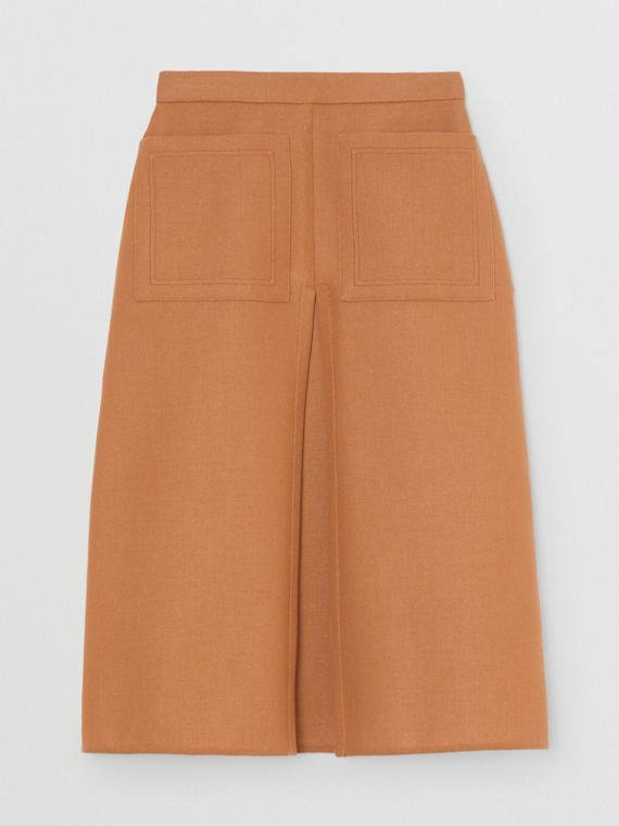 Box Pleat Detail Cotton A-line Skirt in Bronze
