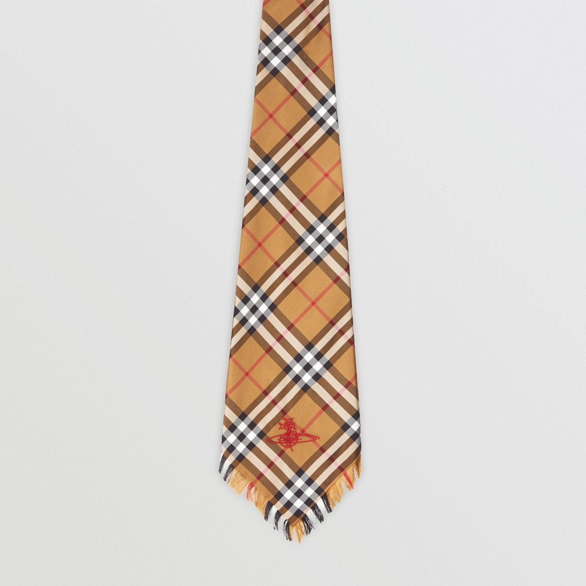 Wide Cut Vintage Check Silk Tie in Antique Yellow | Burberry United Kingdom - gallery image 4