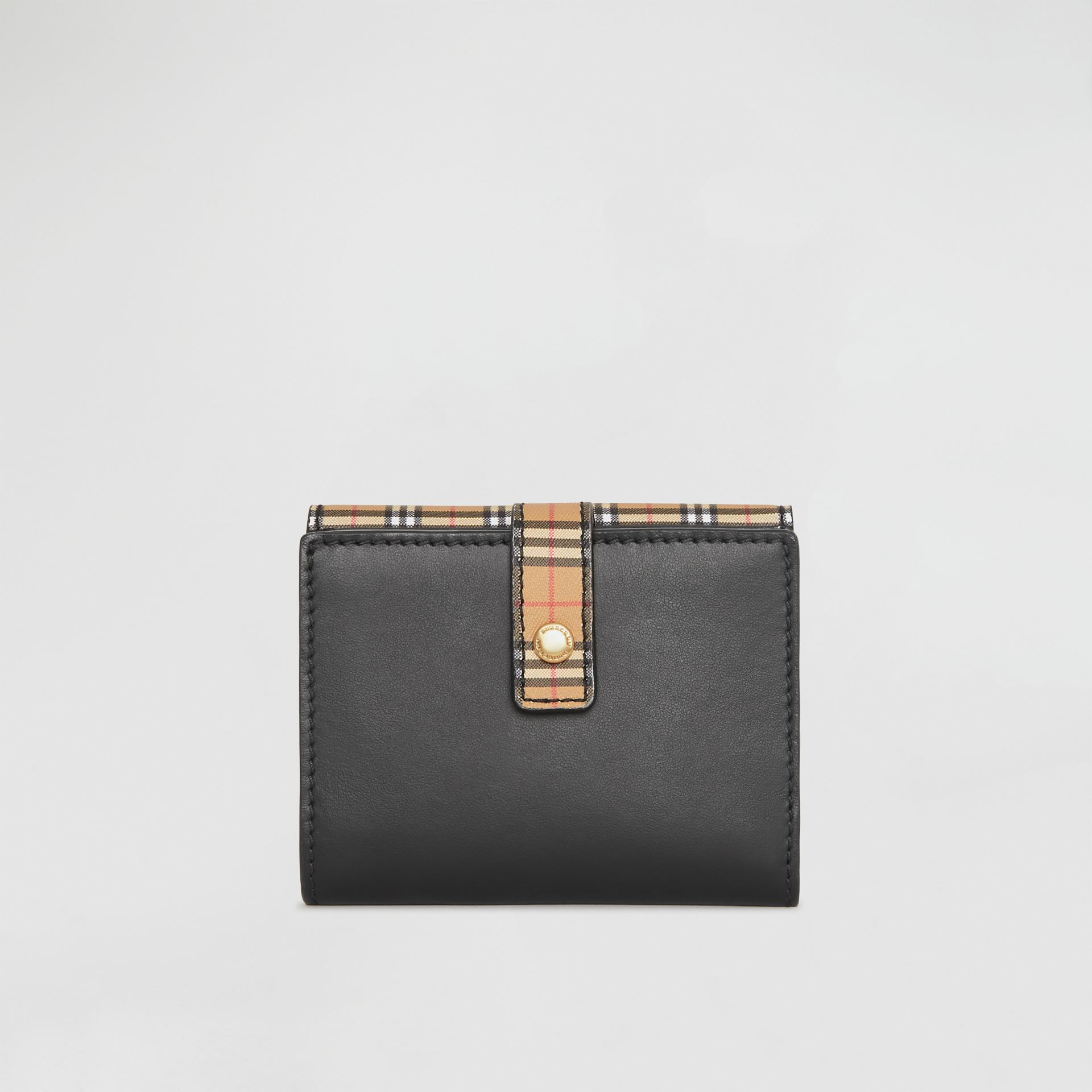 Small Scale Check and Leather Folding Wallet in Antique Yellow - Women | Burberry - gallery image 2