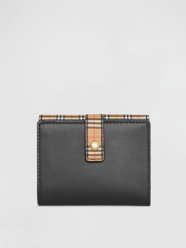 Small Scale Check and Leather Folding Wallet in Antique Yellow - Women | Burberry - cell image 2