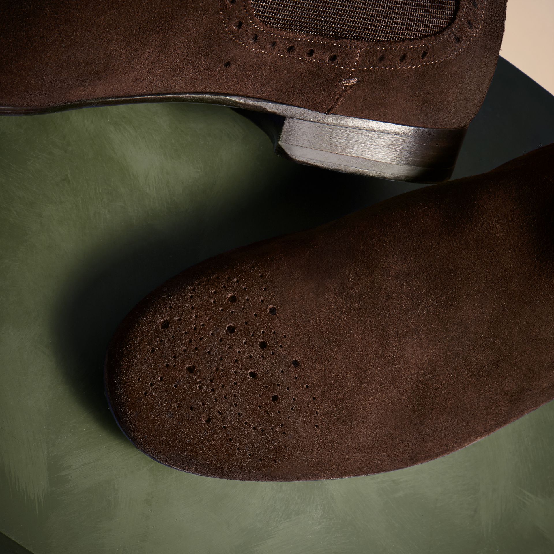Peat brown Washed-suede Chelsea Boots with Leather Soles - gallery image 2