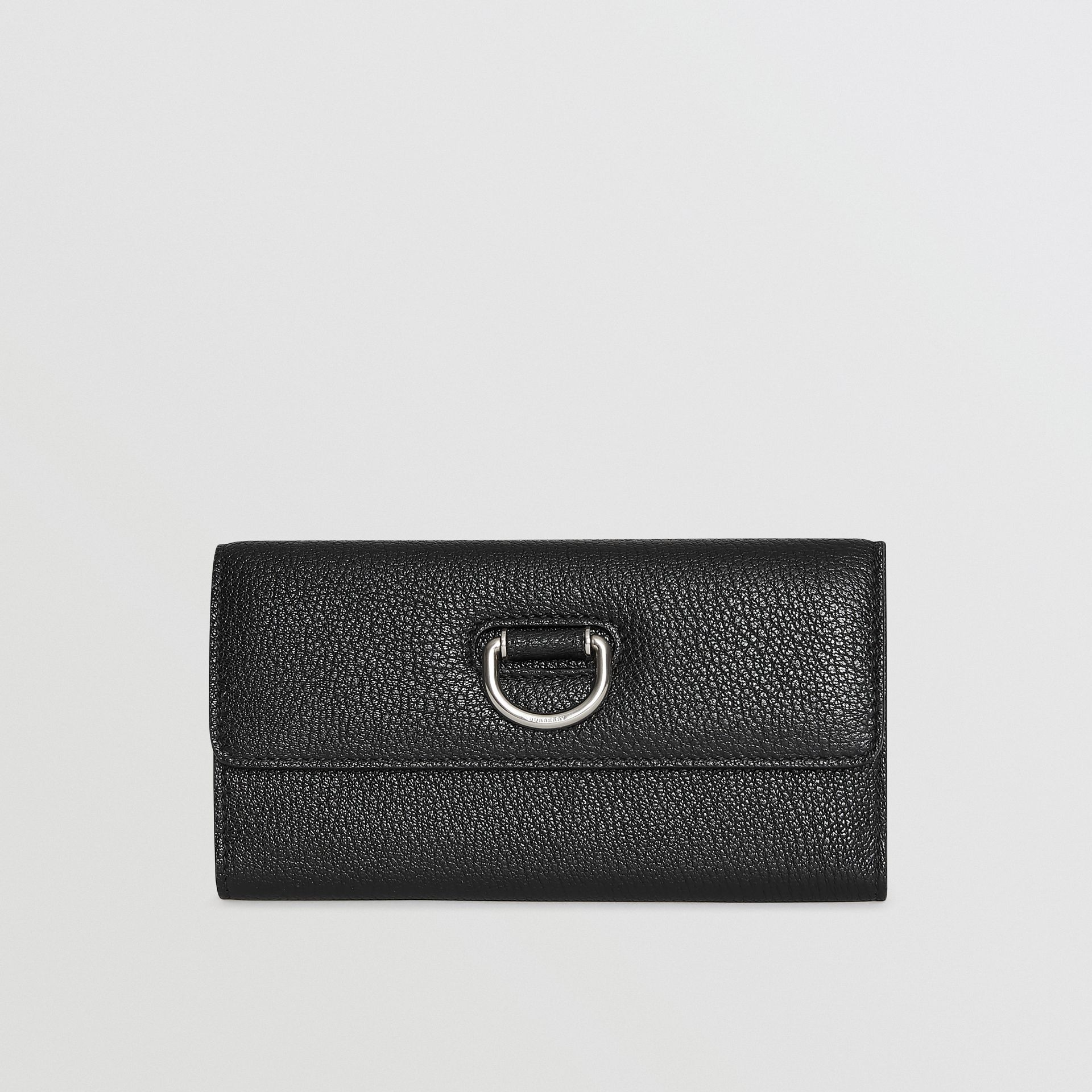 D-ring Grainy Leather Continental Wallet in Black - Women | Burberry - gallery image 5