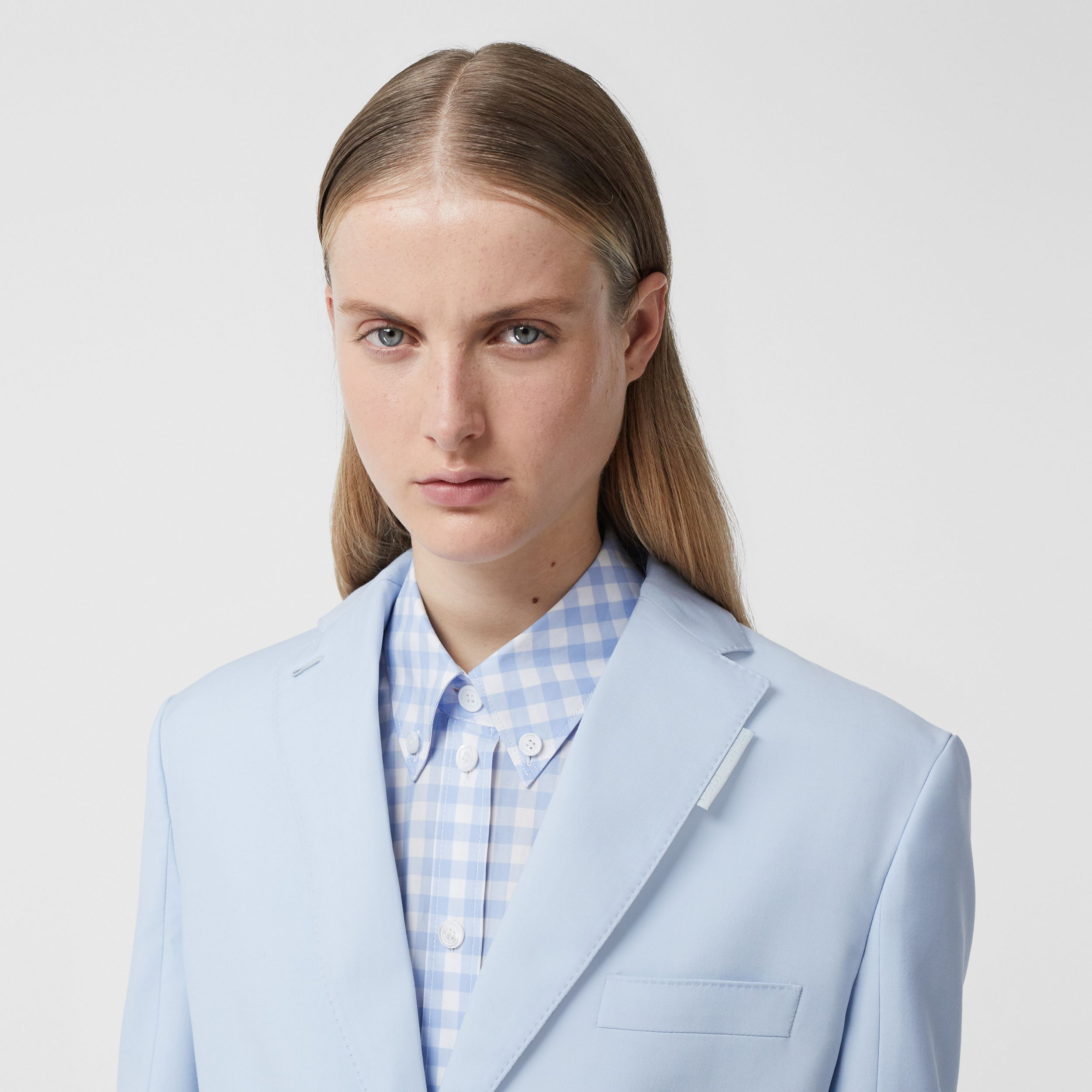 Wool Step-through Blazer in Pale Blue - Women | Burberry Singapore - 2
