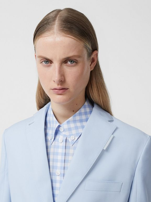 Wool Step-through Blazer in Pale Blue - Women | Burberry - cell image 1