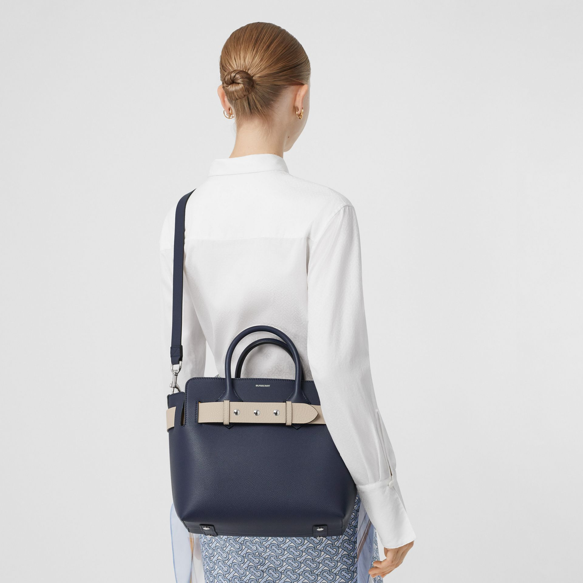 The Small Tri-tone Leather Triple Stud Belt Bag in Regency Blue - Women   Burberry - gallery image 8