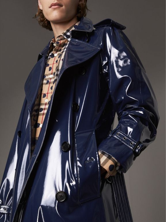 Laminated Cotton Trench Coat in Navy - Men | Burberry - cell image 1