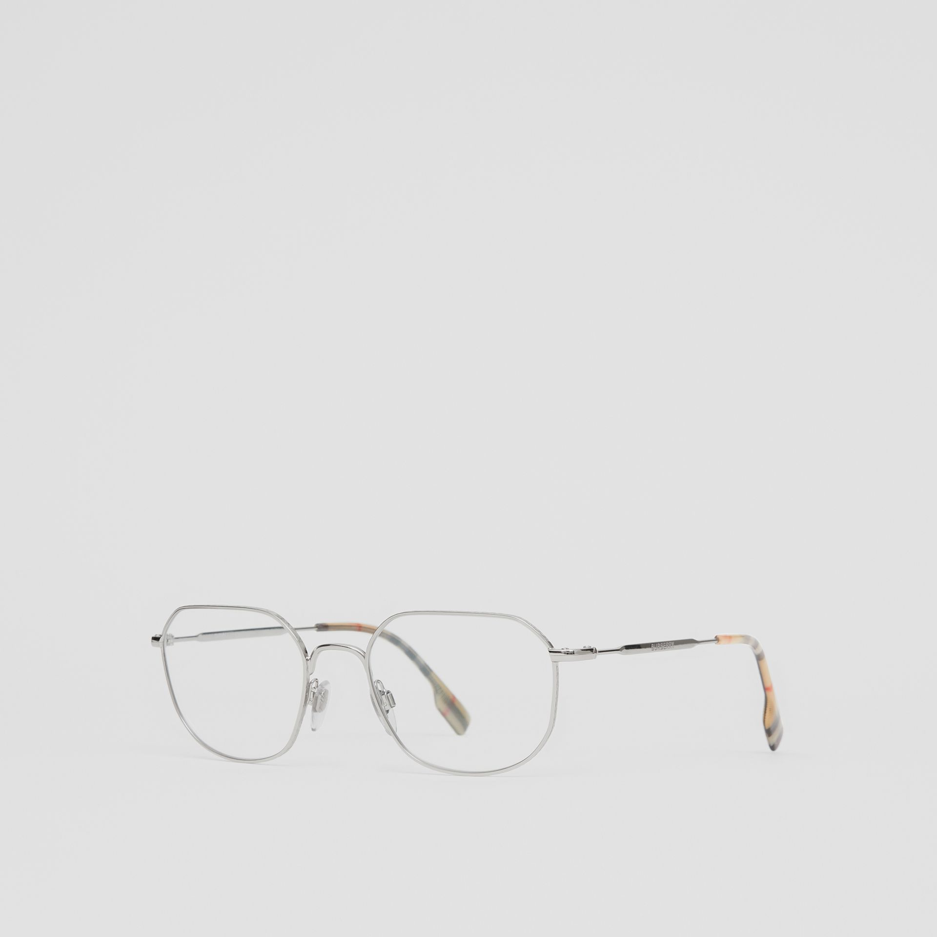 Palladium-plated Square Optical Frames in Silver - Women | Burberry - gallery image 5
