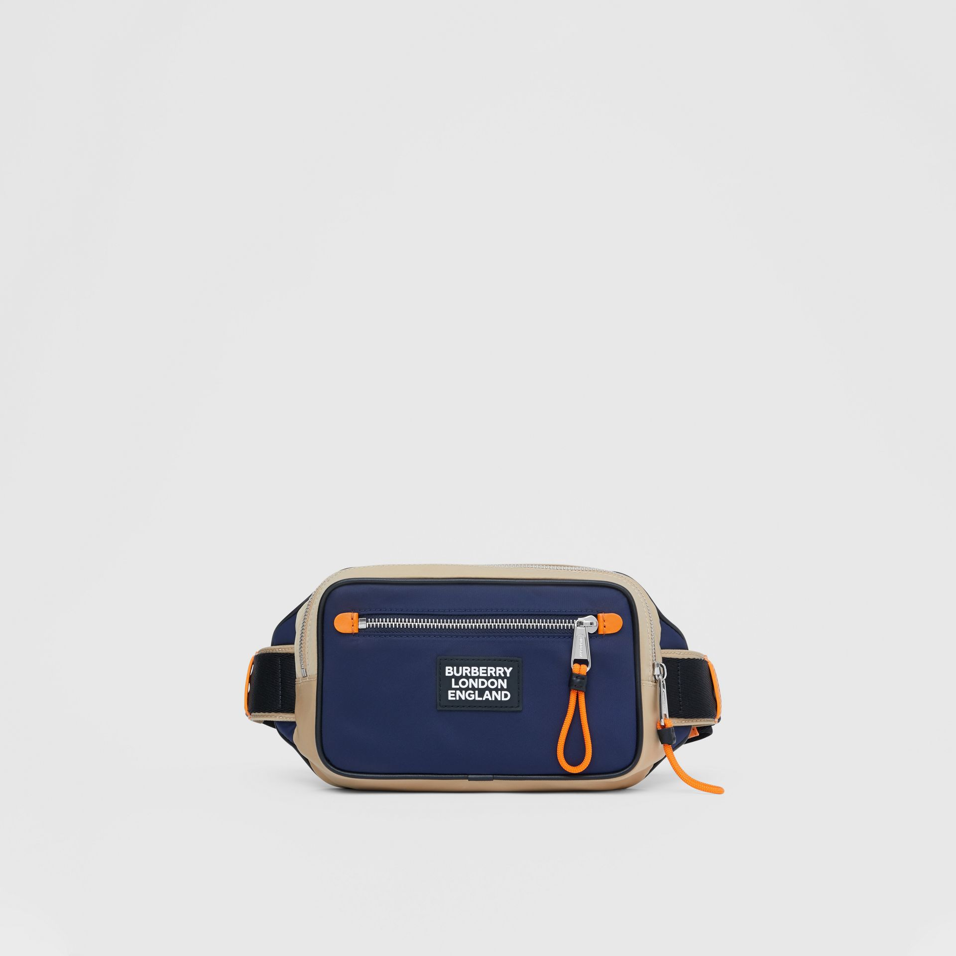 Logo Appliqué Two-tone ECONYL® Bum Bag in Regency Blue/bright Orange | Burberry United Kingdom - gallery image 0