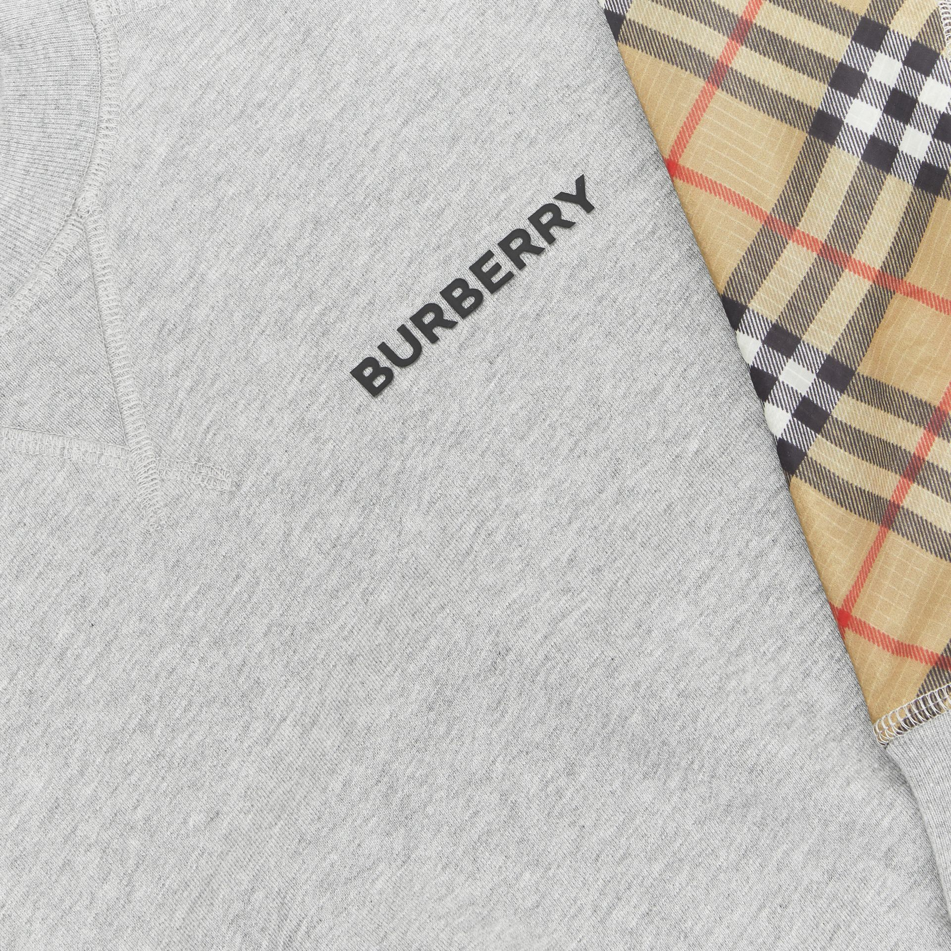 Vintage Check Panel Cotton Sweatshirt in Grey Melange - Boy | Burberry - gallery image 1