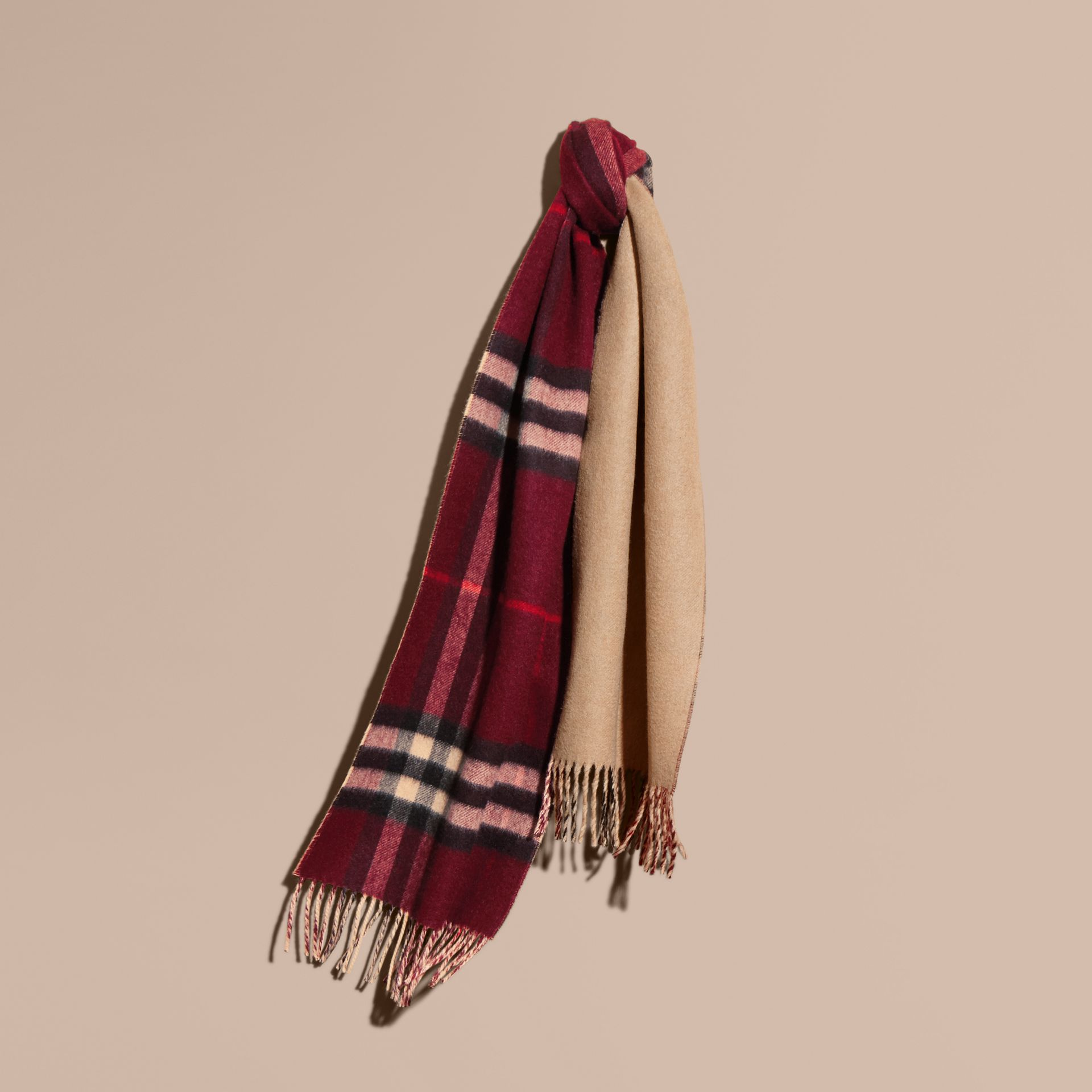 Reversible Check Cashmere and Block-colour Scarf in Claret - gallery image 6