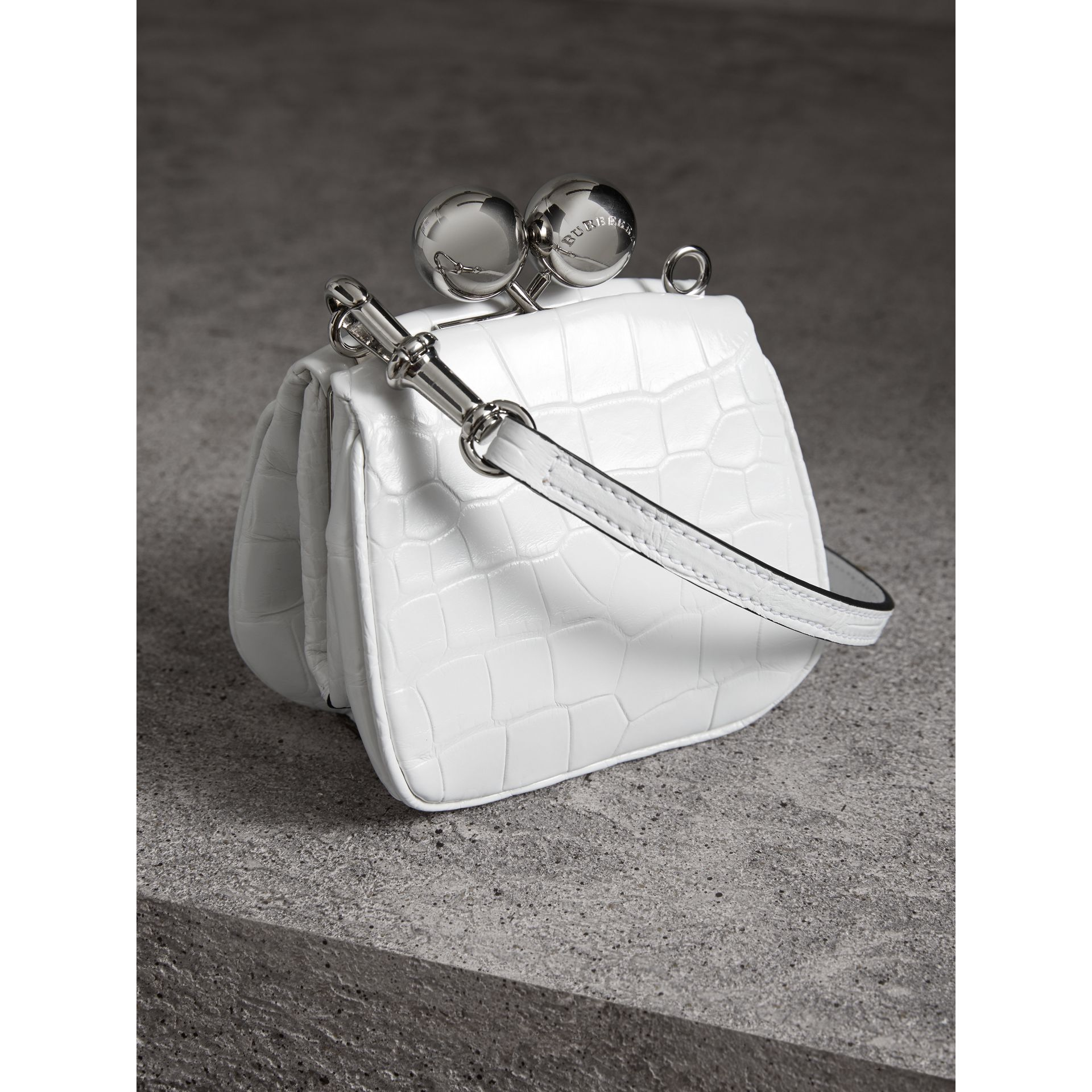 Mini Alligator Frame Bag in White - Women | Burberry United Kingdom - gallery image 4