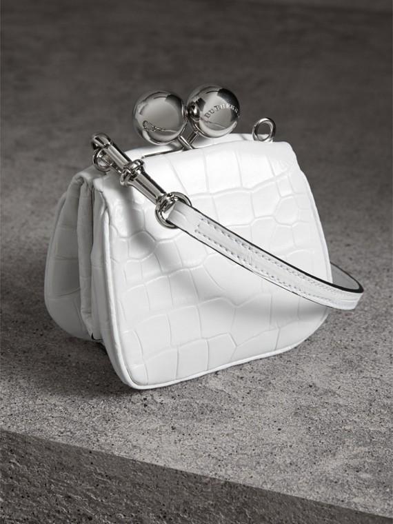 Mini Alligator Metal Frame Clutch Bag in White - Women | Burberry United Kingdom - cell image 2