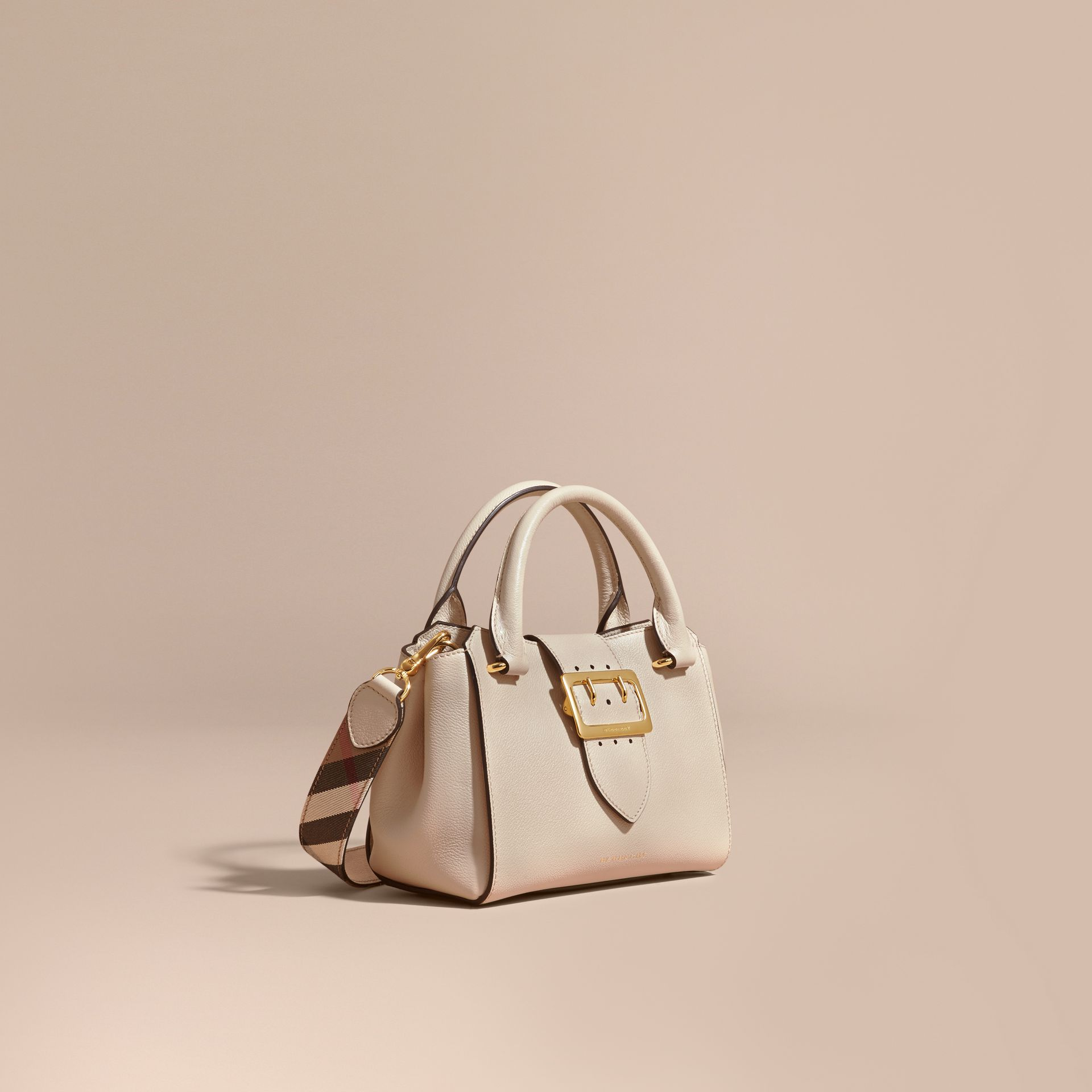 Limestone The Small Buckle Tote in Grainy Leather Limestone - gallery image 1