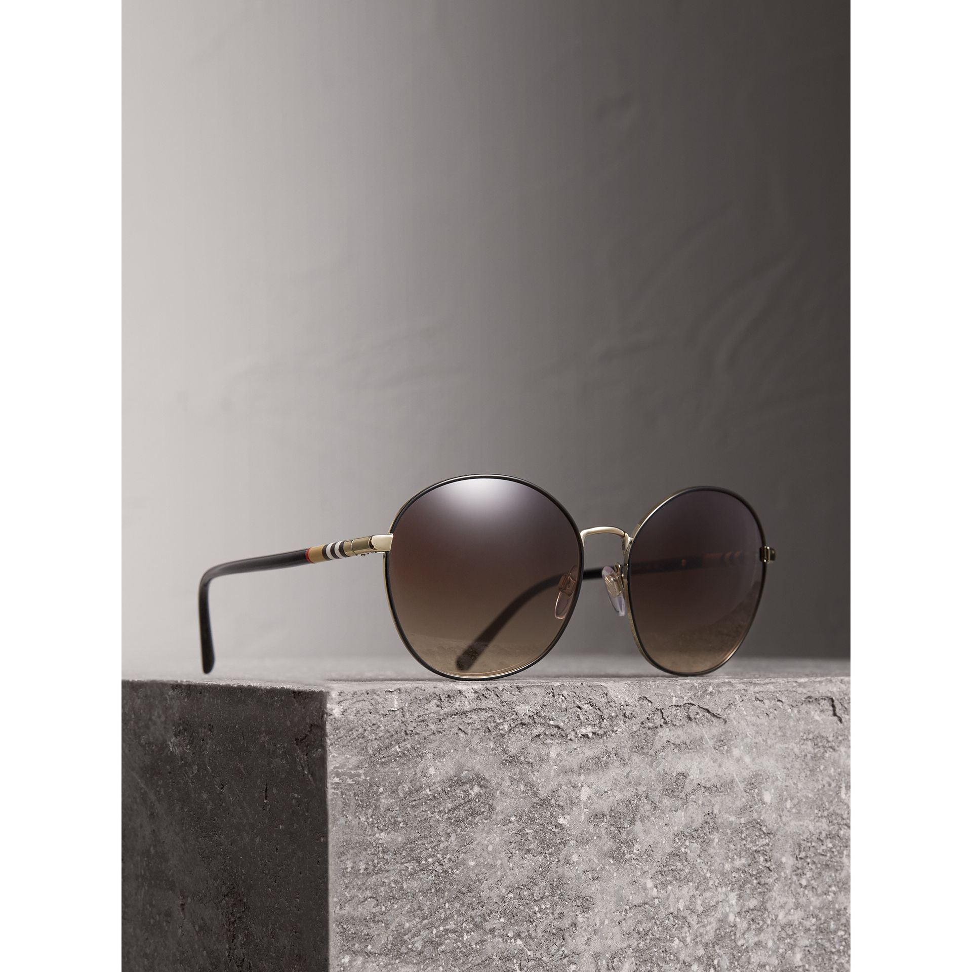 Check Detail Round Frame Sunglasses in Black - Women | Burberry - gallery image 1