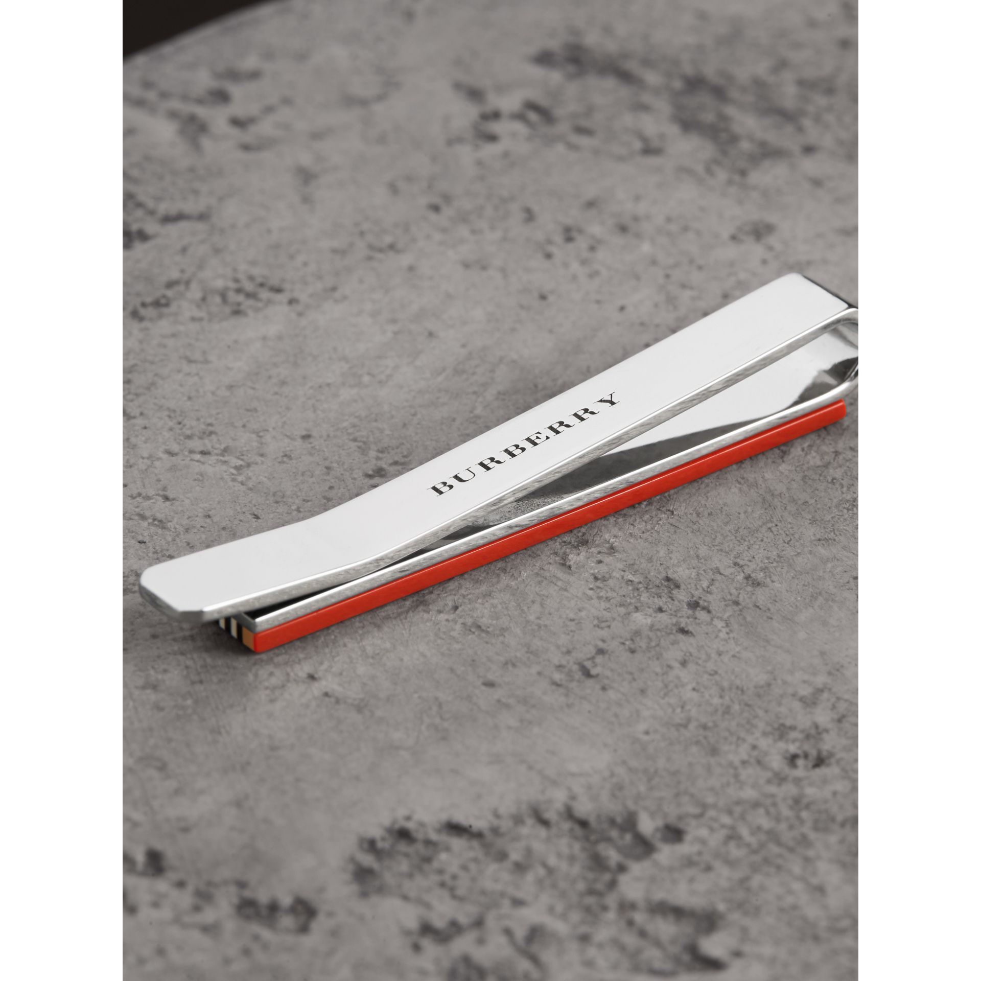 Heritage Stripe Bronze Tie Bar in Vintage Check - Men | Burberry - gallery image 1