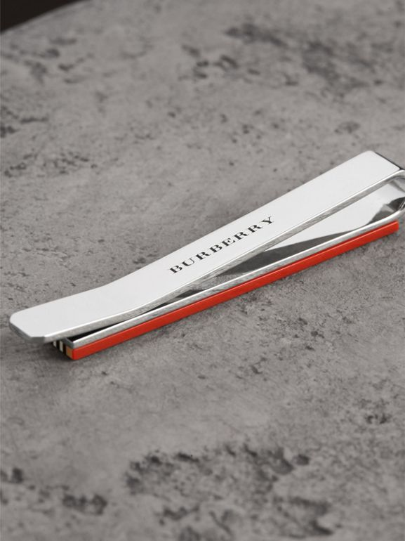 Heritage Stripe Bronze Tie Bar in Vintage Check - Men | Burberry United Kingdom - cell image 1