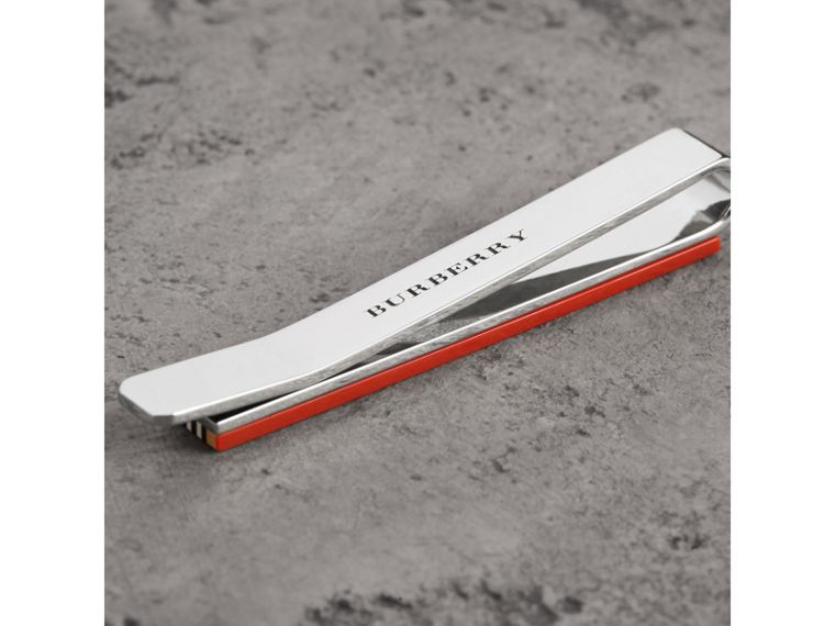 Heritage Stripe Bronze Tie Bar in Vintage Check - Men | Burberry - cell image 1