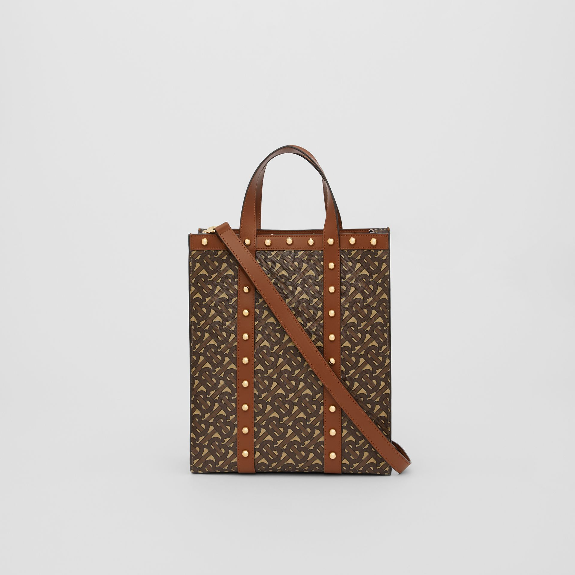 Small Monogram Print E-canvas Portrait Tote Bag in Tan - Women | Burberry - gallery image 9