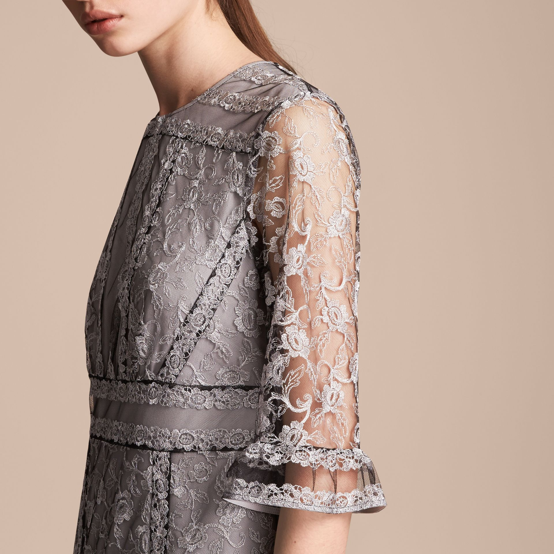 Floral Lace Tulle Dress in Silver - Women | Burberry - gallery image 5